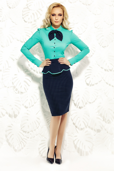 Fofy green skirt office slightly elastic fabric with frilled waist pencil
