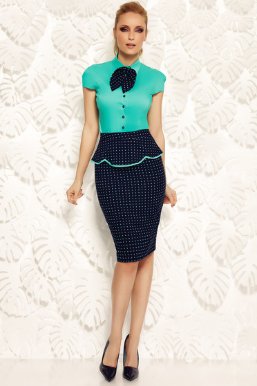Fofy green office pencil skirt slightly elastic fabric with frilled waist