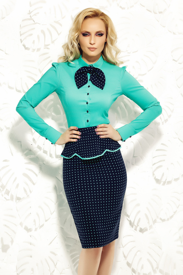 Fofy green women`s shirt office elastic cotton arched cut