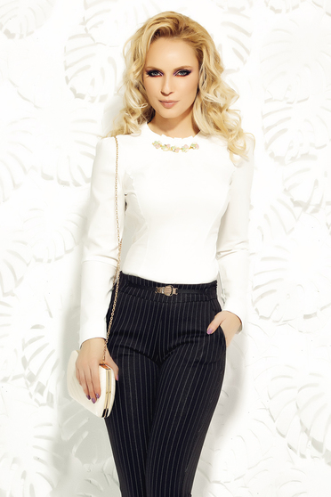 Fofy white women`s shirt office arched cut cotton with embellished accessories
