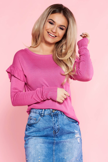 Top Secret pink sweater casual flared knitted fabric with ruffled sleeves