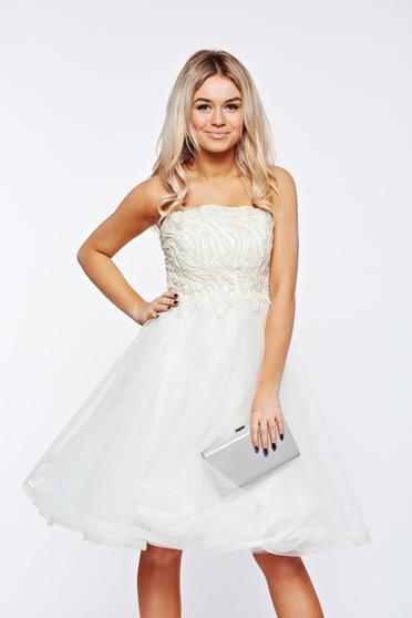 Ana Radu white dress luxurious with small beads embellished details with inside lining from tulle