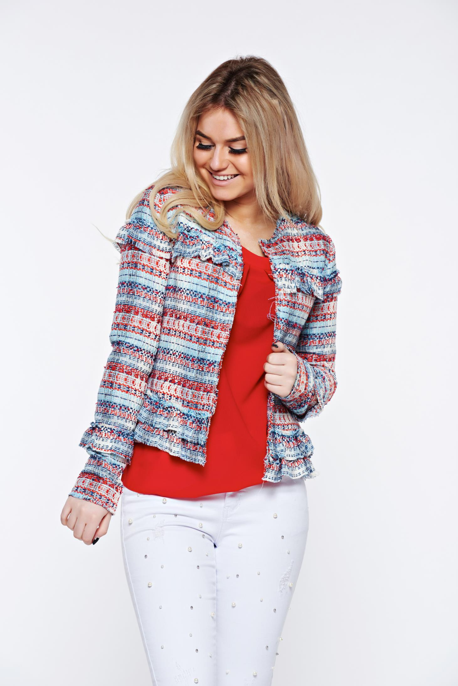 Top Secret lightblue jacket with inside lining elegant tented with ruffle details