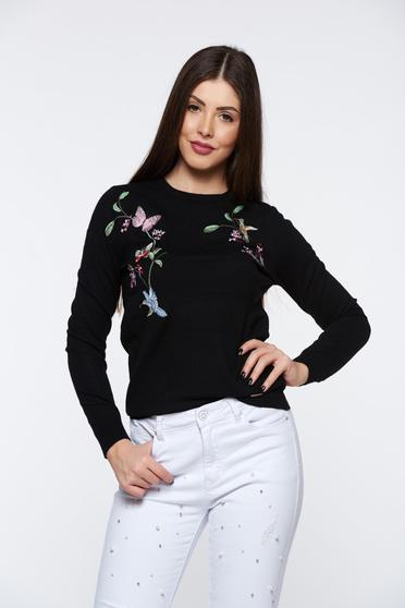 Top Secret black casual embroidered sweater knitted fabric soft fabric