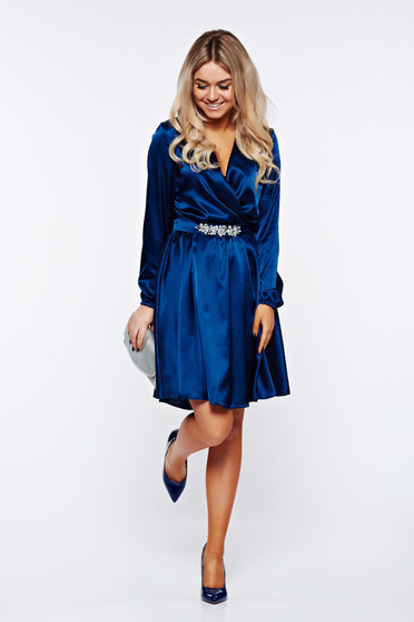 StarShinerS blue occasional dress strass wrap around from satin fabric texture