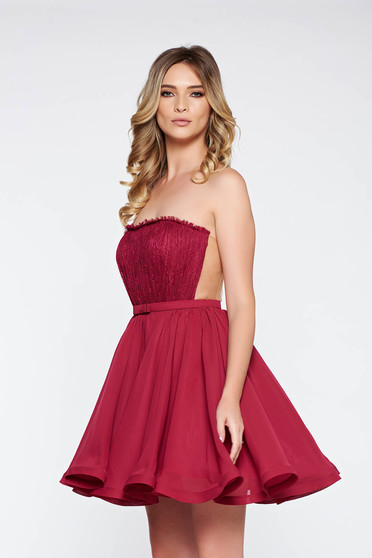 Ana Radu burgundy dress luxurious from laced fabric voile fabric with inside lining