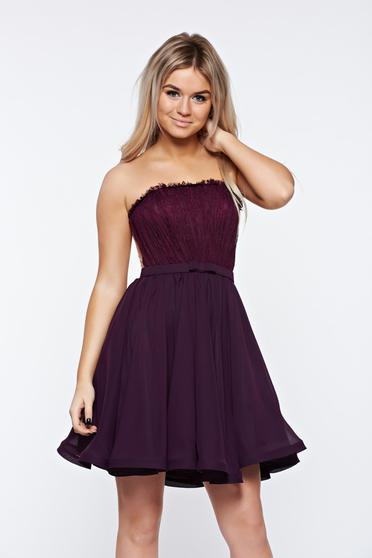 Ana Radu purple dress luxurious from laced fabric voile fabric with inside lining