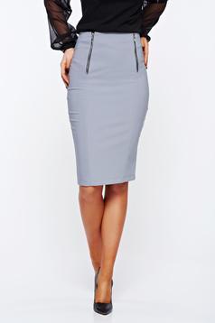 StarShinerS grey skirt office pencil slightly elastic fabric with medium waist