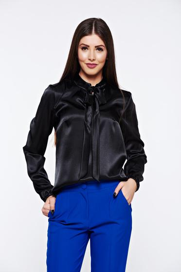 StarShinerS black women`s blouse elegant with easy cut from satin fabric texture