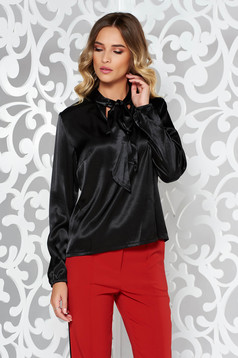 StarShinerS black women`s blouse elegant with easy cut from satin fabric texture long sleeved