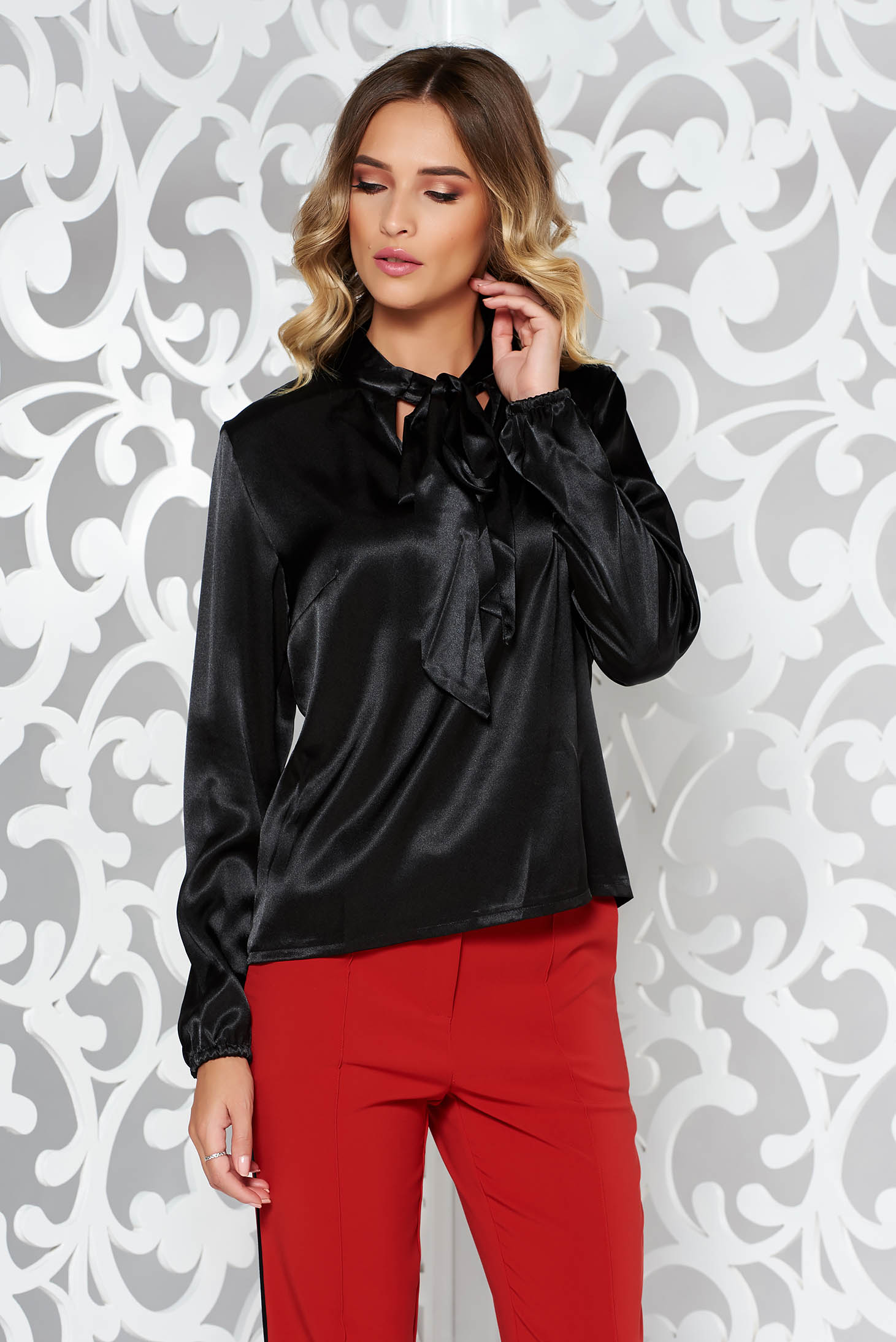 Bluza dama StarShinerS neagra eleganta cu croi larg din material satinat cu maneci lungi