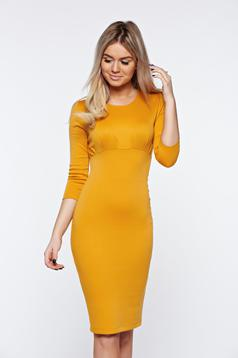 StarShinerS mustard dress basic pencil pleats at the bust from elastic fabric