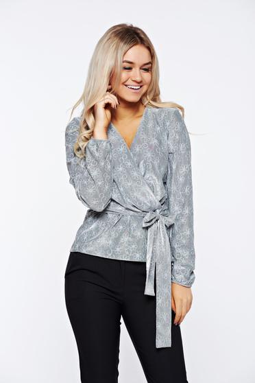 StarShinerS grey women`s blouse elegant embroidered from elastic fabric with a cleavage