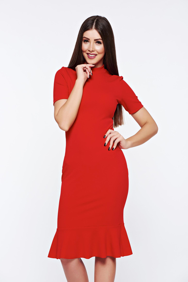 StarShinerS red dress elegant from elastic fabric with tented cut
