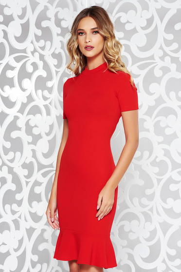 StarShinerS red dress elegant from elastic fabric with tented cut with ruffles at the buttom of the dress