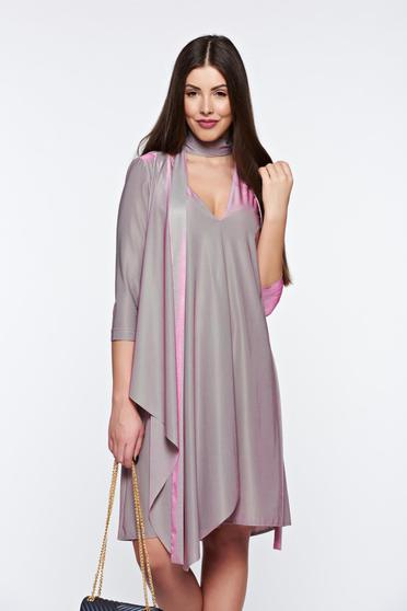 StarShinerS lila dress occasional asymmetrical from satin fabric texture with v-neckline
