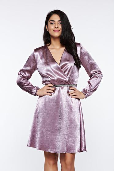 StarShinerS lila dress from satin fabric texture occasional wrap around cloche