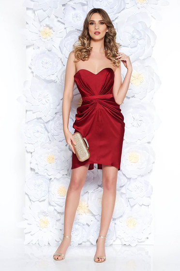 Ana Radu burgundy from satin fabric texture dress luxurious with push-up cups from wrinkled fabric