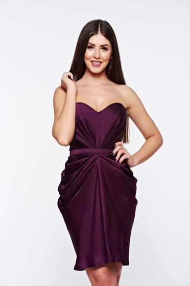 Ana Radu purple from satin fabric texture dress luxurious with push-up cups from wrinkled fabric