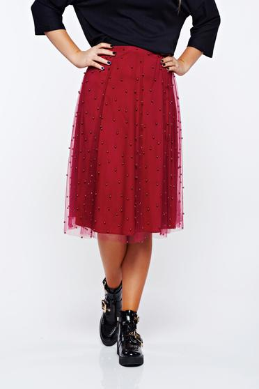 StarShinerS burgundy skirt casual from tulle with small beads embellished details with inside lining