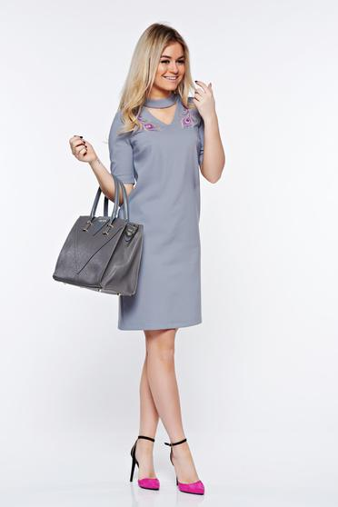 StarShinerS grey dress elegant embroidered slightly elastic fabric with straight cut