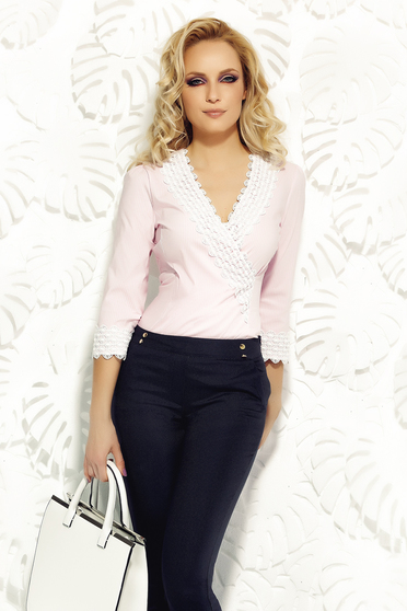 Fofy rosa women`s shirt office elastic cotton with tented cut knitted lace