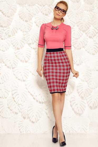 Fofy red skirt office pencil slightly elastic fabric with medium waist