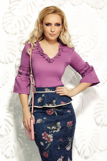 Fofy purple women`s shirt office elastic cotton with tented cut with ruffle details