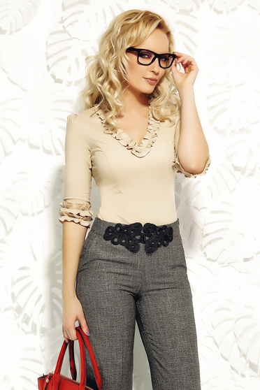 Fofy cream women`s shirt office elastic cotton with tented cut with ruffle details