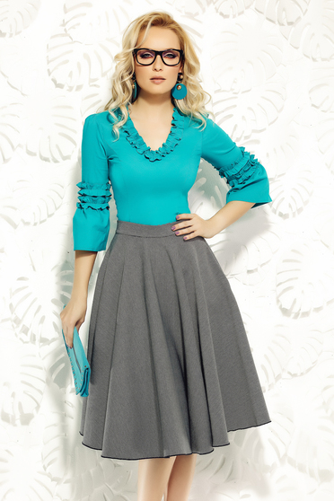Fofy turquoise women`s shirt office elastic cotton with tented cut with ruffle details