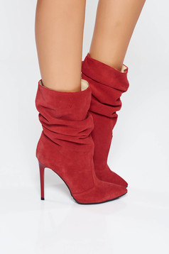 Red natural leather boots with high heels