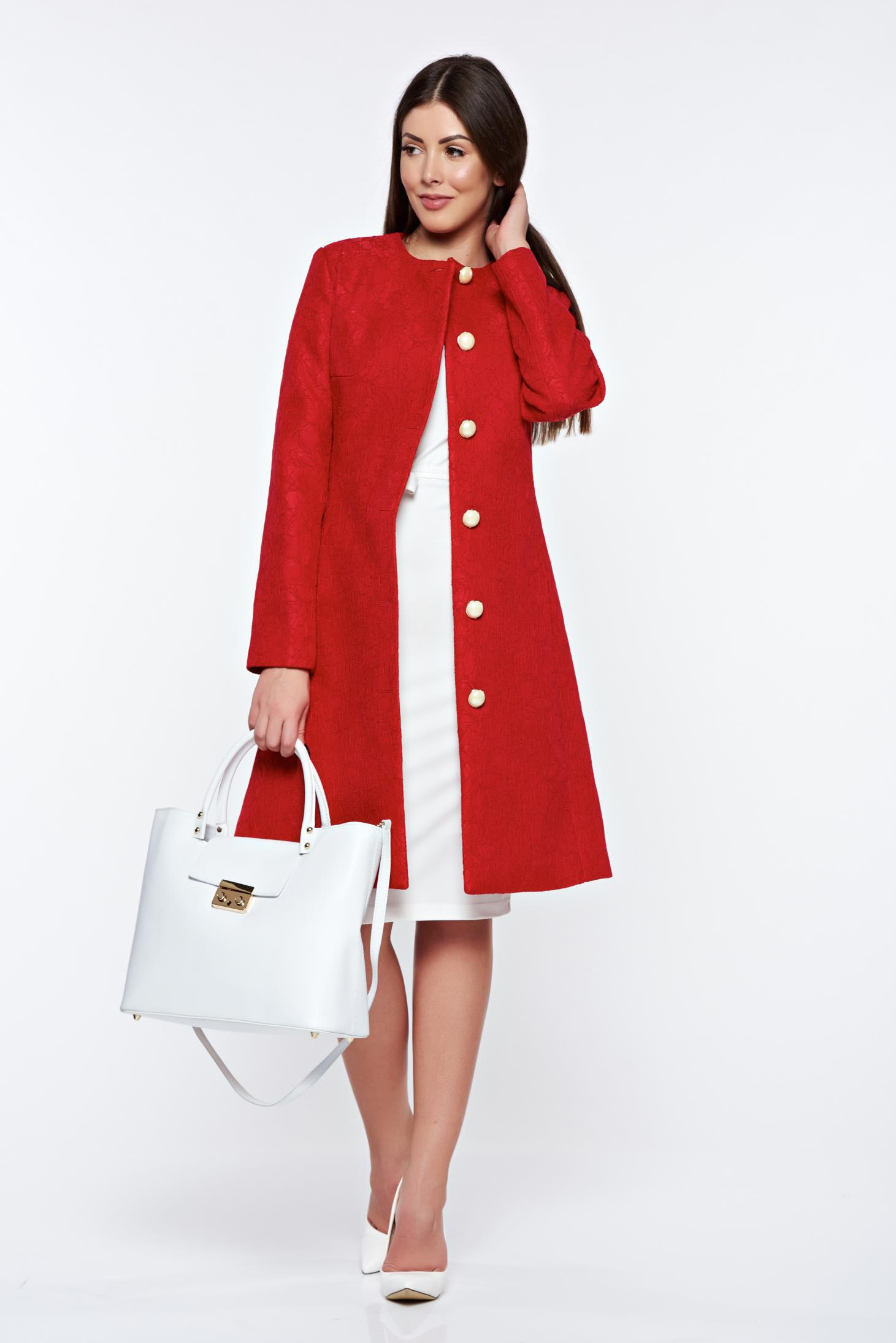 LaDonna red trenchcoat elegant with inside lining with pockets