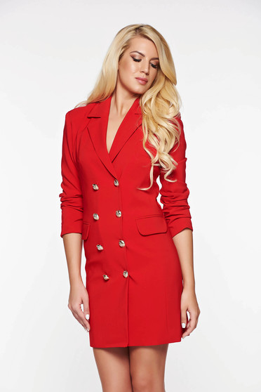 LaDonna red dress blazer type with inside lining office with v-neckline