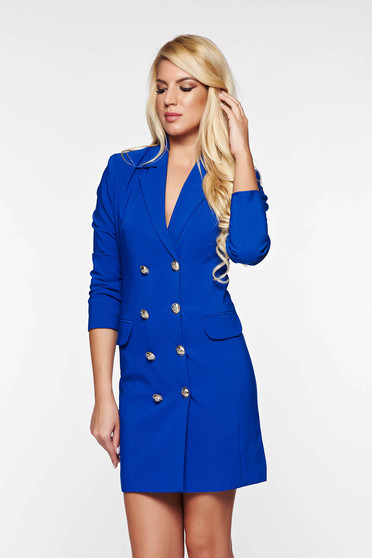 LaDonna blue dress blazer type with inside lining office with v-neckline
