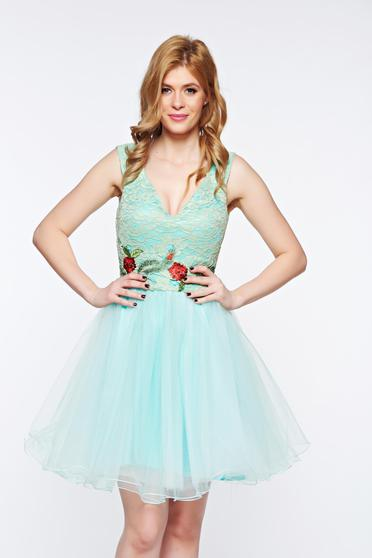 Artista mint dress with v-neckline occasional embroidered laced from tulle