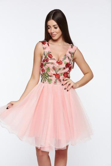 Artista rosa dress cloche embroidered laced from tulle elegant