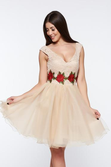 Artista cream dress occasional cloche laced from tulle embroidered