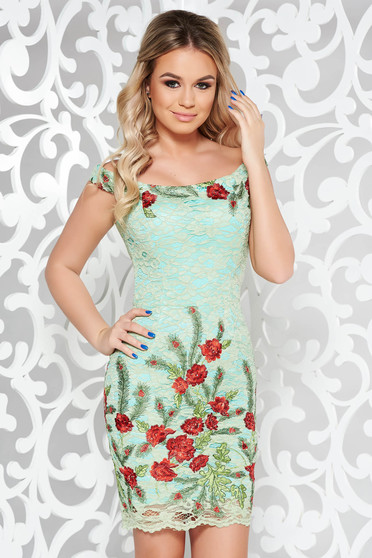 Artista green dress occasional pencil laced embroidered with inside lining