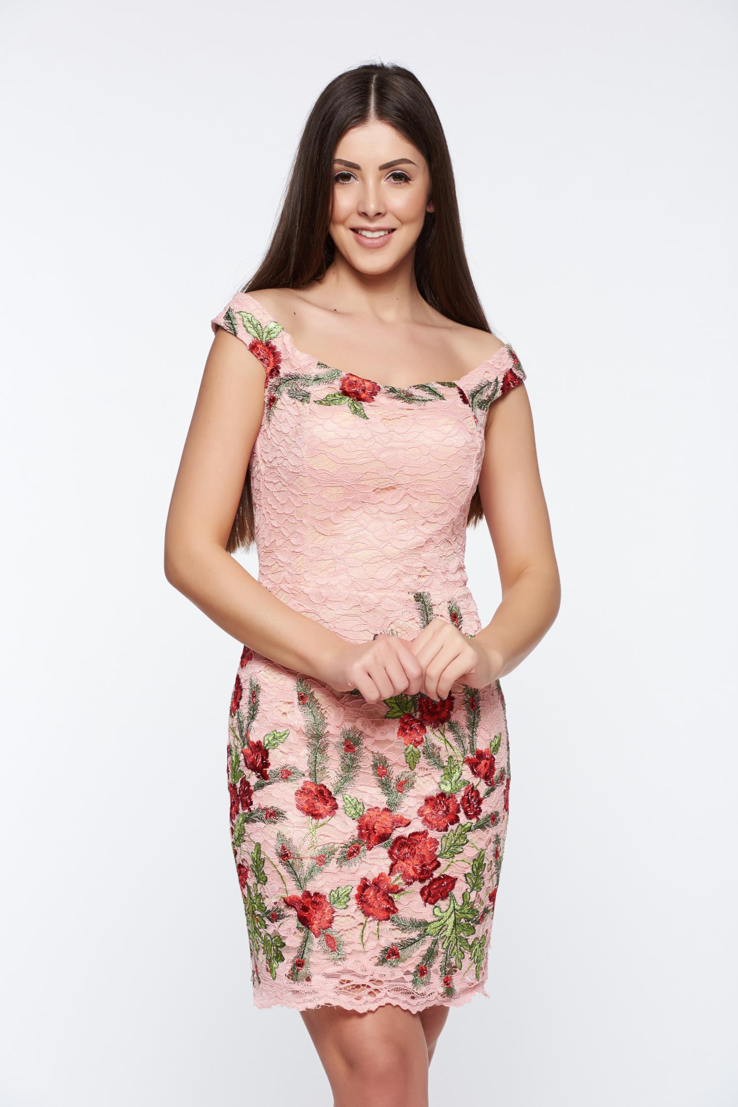 Artista rosa dress occasional pencil laced embroidered with inside lining
