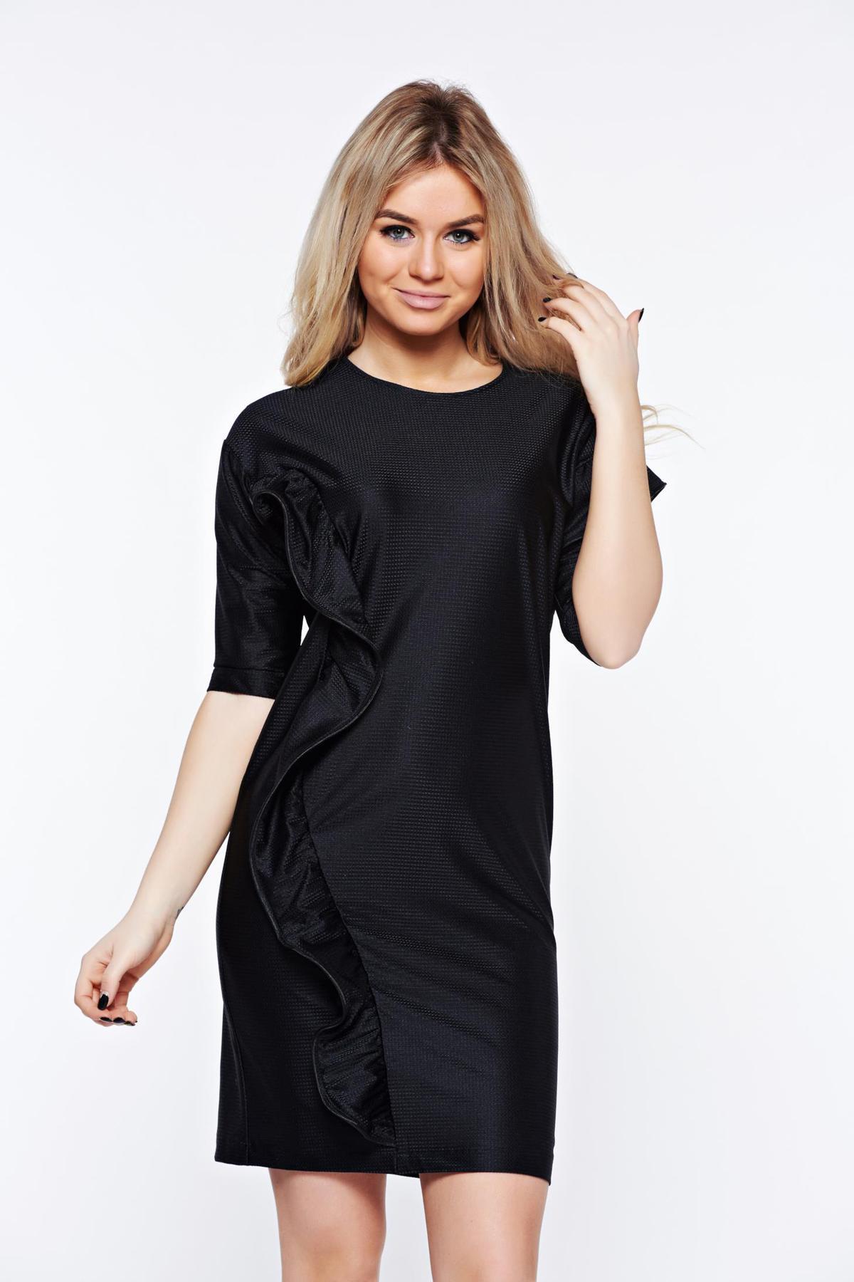 Rochie StarShinerS neagra casual cu croi larg din material usor elastic captusita pe interior