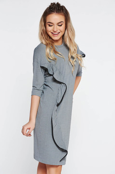 StarShinerS grey casual dress from elastic fabric flared with ruffle details