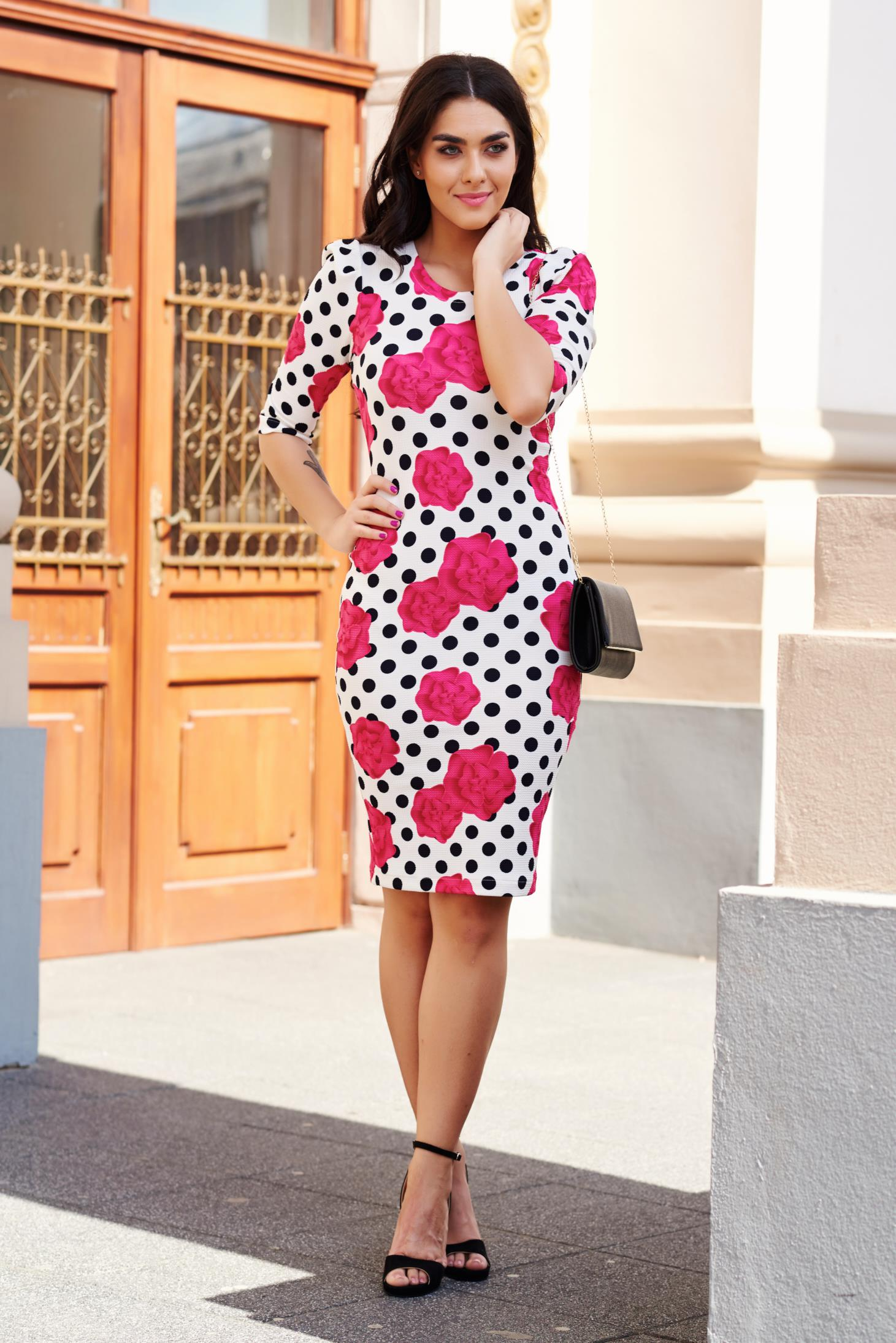 StarShinerS white daily pencil dress from elastic fabric with print details