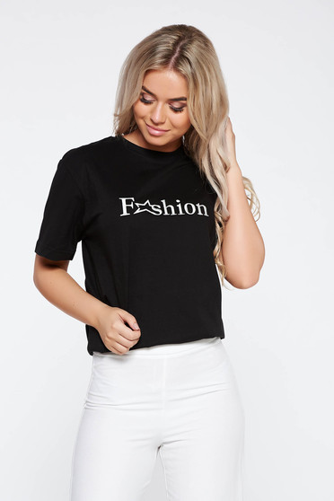 StarShinerS black casual embroidered cotton t-shirt with easy cut