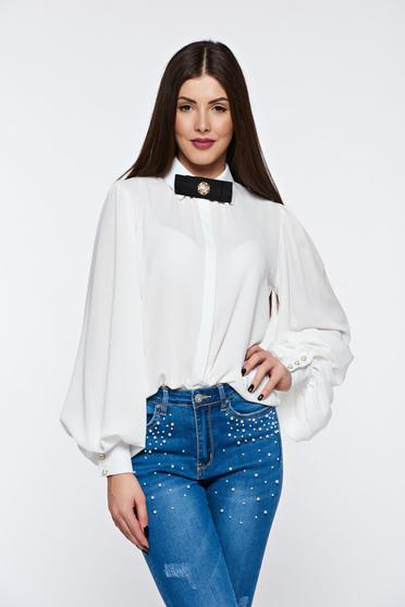 PrettyGirl white women`s shirt elegant flared airy fabric with puffed sleeves