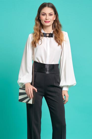 PrettyGirl white women`s shirt elegant flared airy fabric with puffed sleeves