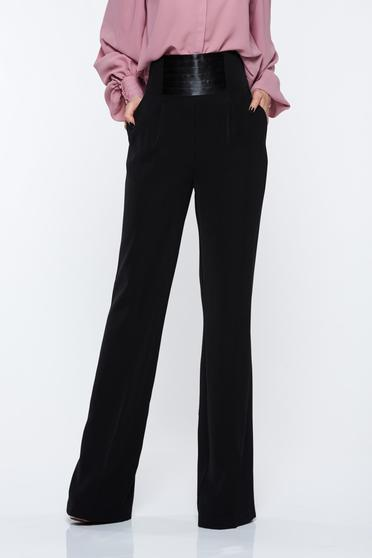PrettyGirl black trousers elegant high waisted flared with pockets