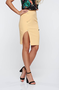 PrettyGirl yellow skirt office with inside lining pencil high waisted