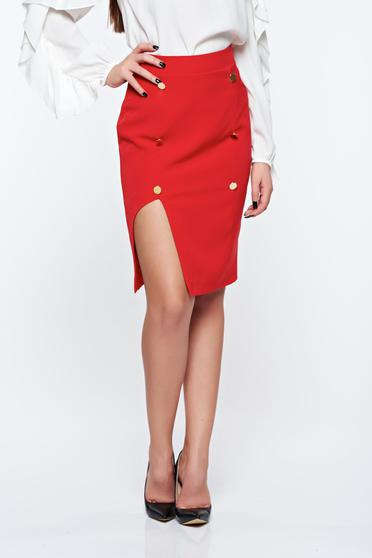 PrettyGirl red skirt office with inside lining pencil high waisted