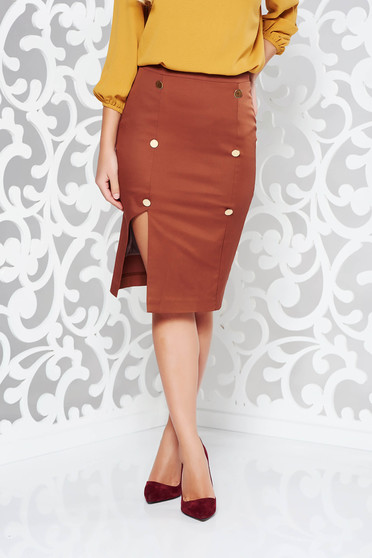 PrettyGirl brown skirt office with inside lining pencil high waisted