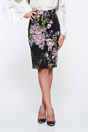 PrettyGirl lila skirt office high waisted pencil from elastic fabric